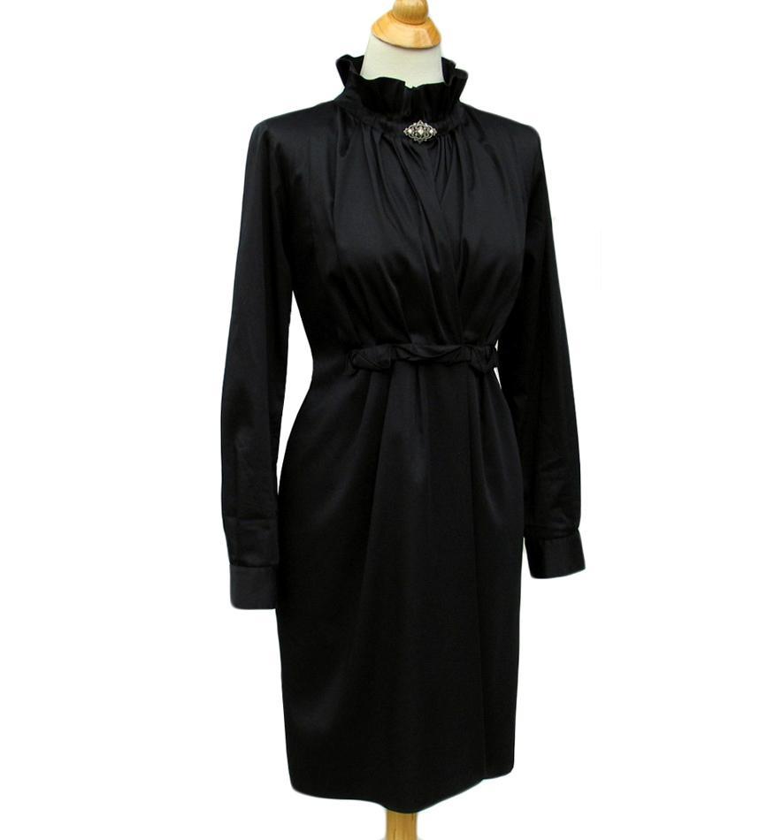 Elie Tahari Black Stretch Sateen KLOE Dress NWT Size