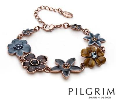 PILGRIM Danish Design Swarovski Crystal Enamel Rose Gold