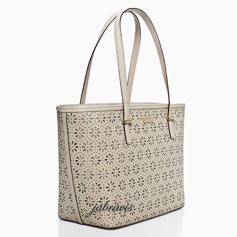 KATE SPADE Crema De Vie Cream Cedar Street Perforated Small Harmony Tote Bag EBay