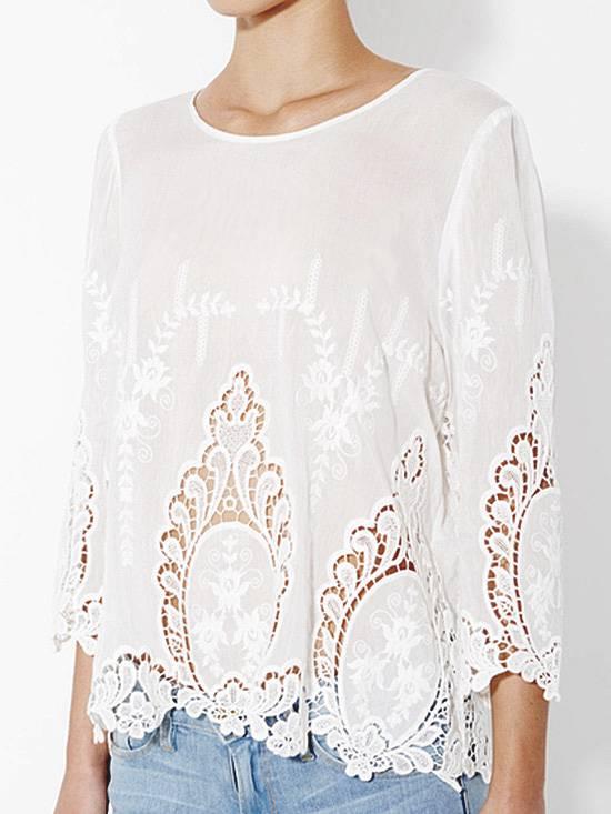 CYNTHIA ROWLEY White 100 Cotton Vita Dolce Embroidered