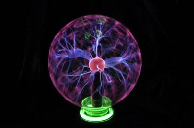 Glass Sphere Lamp 8quot Large Plasma Ball w Neon Ring eBay