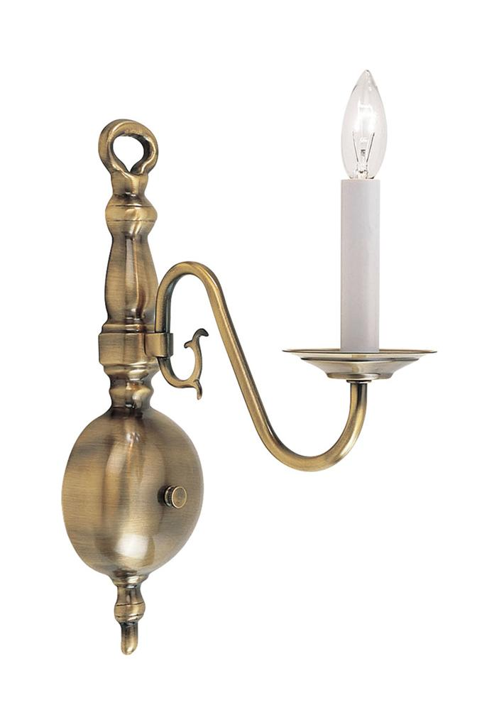 1 Light Antique Brass Livex Williamsburg Wall Sconce ... on Brass Wall Sconces Non Electric Lighting id=87903