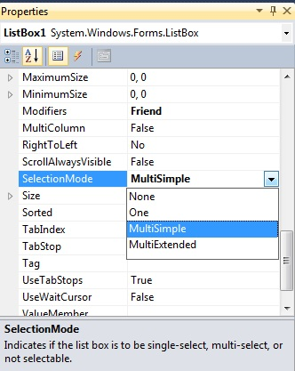 SelectionMode of ListBox control in C# | multiple selection mode of