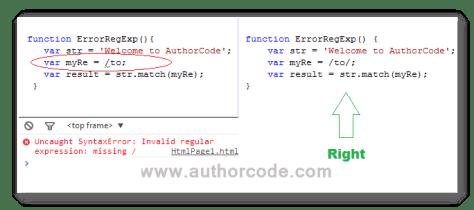 regexp pattern syntax error in JavaScript