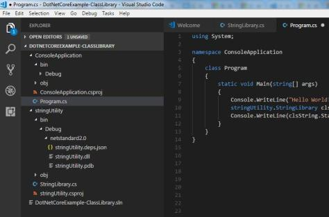 Class Library and Console Application in VS Code