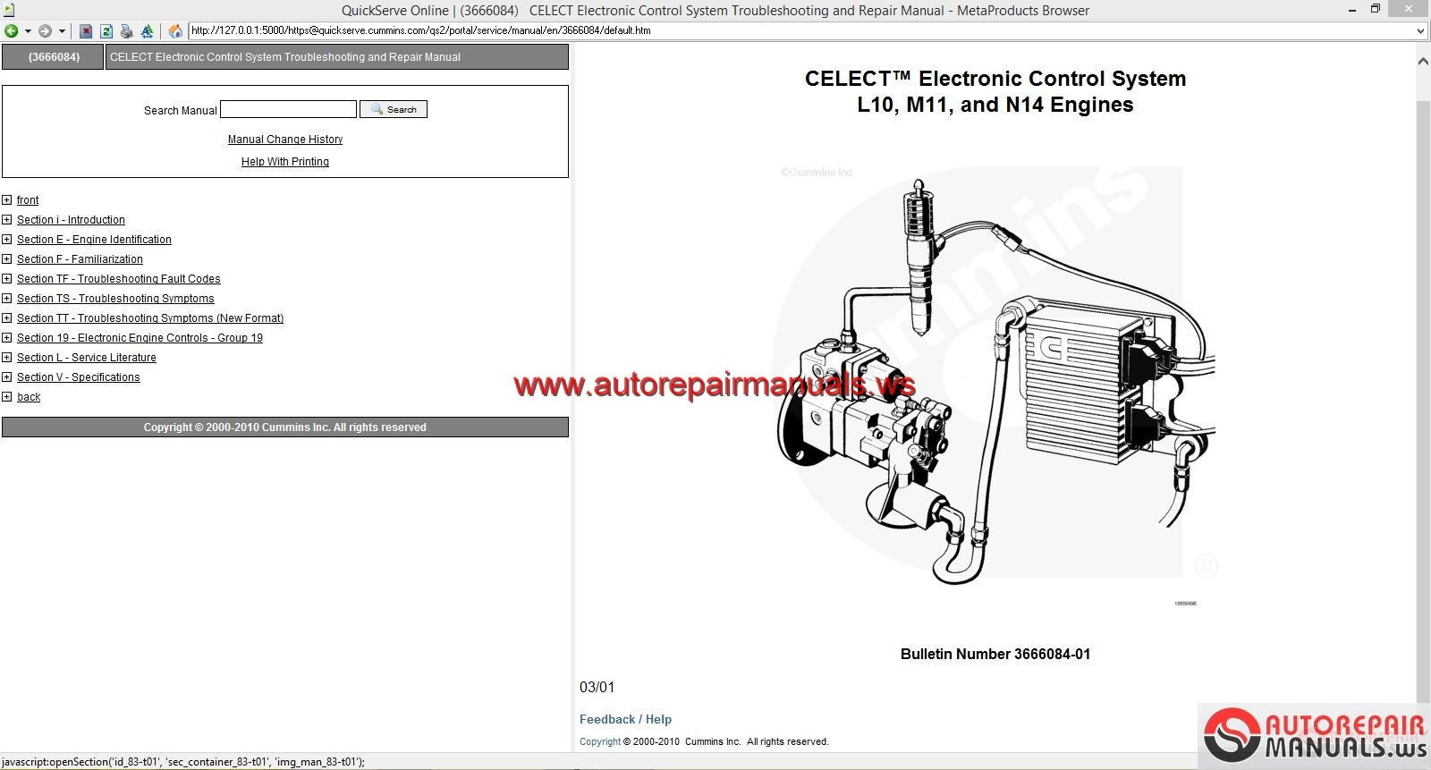 Cummins Celect Electronic Control System L10 M11 And N14
