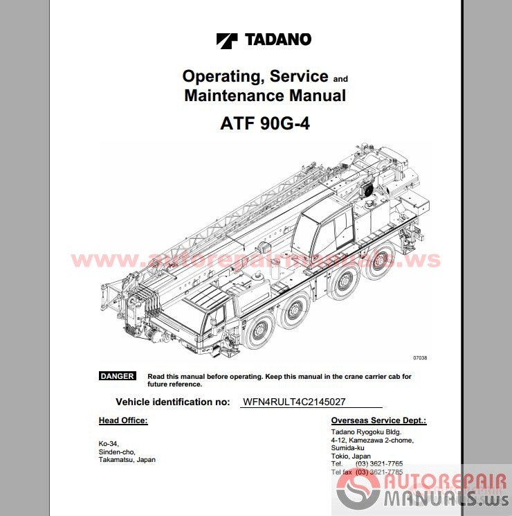Tadano Cranes Operation, Service and Maintenance Manual