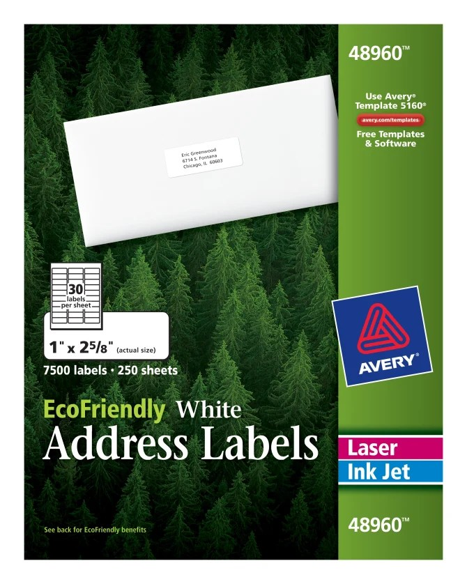 Avery EcoFriendly Address Labels 1  x 2 5 8 500 Labels  48960     Avery EcoFriendly Address Labels 1  x 2 5 8 500 Labels  48960    Avery com