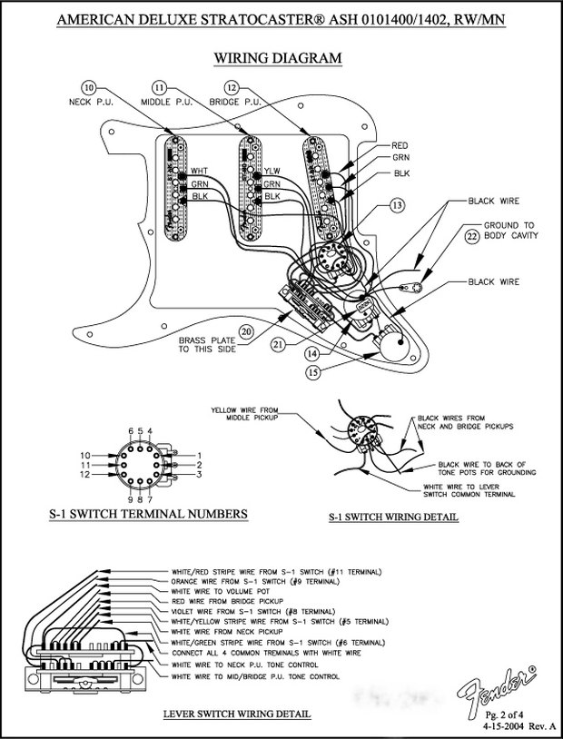 Fender Stratocaster Deluxe S1 Wiring Diagram - Wiring Schematics on