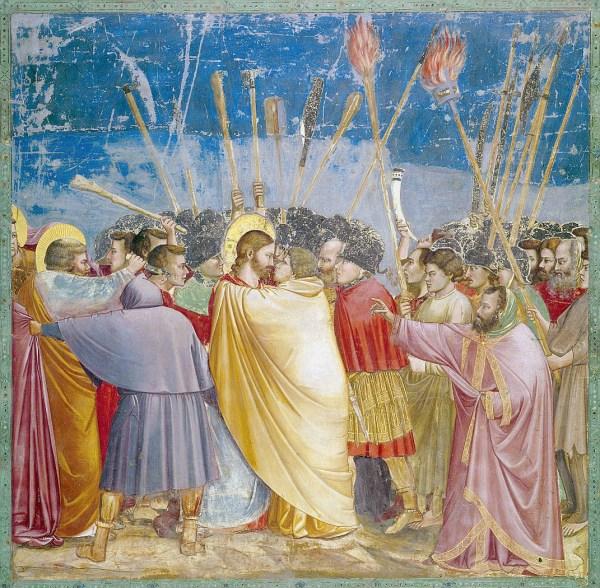 Giotto, L'Arrestation de Jésus, Fresque (1305), 200×185cm, Chapelle Scrovegni à Padoue.