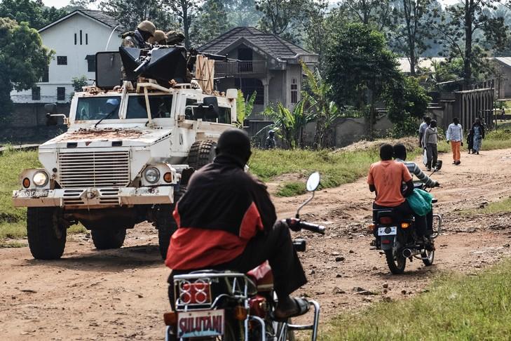 Des soldats sud-africains membres de la Monusco, le plus fort contingent de casques bleus de l'ONU, chargé notamment d'aider à l'organisation des élections en RDC le 23 décembre/AFP/Archives