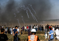 Israeli forces fired tear gas at demonstrators in Gaza.