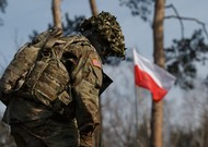 A US Nato soldier in Wesola, Poland March 2017.