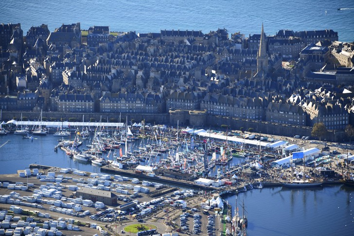 Aerial view of the port of Saint-Malo, departure town of the Route du Rhum, November 2, 2018 / AFP