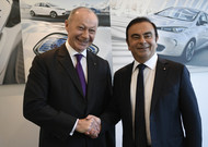 Thierry Bolloré and Carlos Ghosn, February 16, 2018 in Boulogne-Billancourt