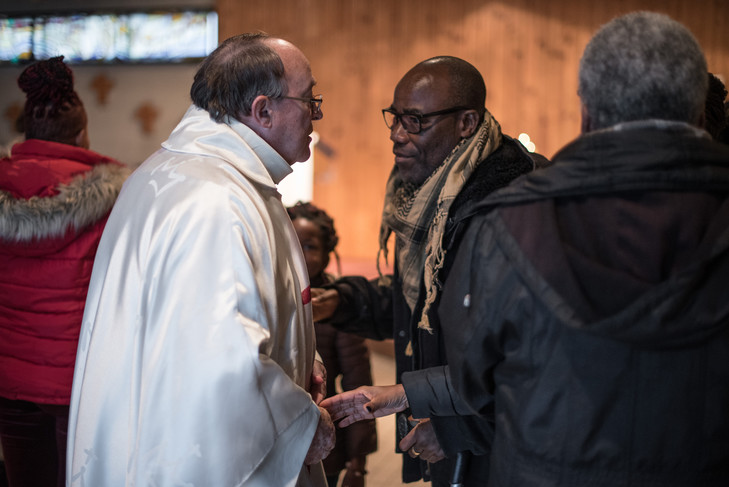 Father Jean Guellerin and Zekre, parish pillar and the Ivory Coast / Chloé Sharrock for La Croix
