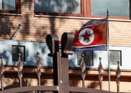 The North Korean flag flies inside the Korean embassy compound ...