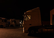 A truck driver driving his truck in the parking lot L & # 39; Escale near Châteauro ...