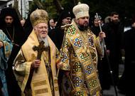 The Primate of Constantinople Bartolomeos (left) and Metropolitan Iepifani (at ...