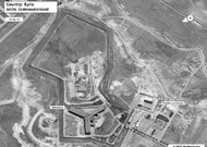 Satellite view of Saidnaya Prison, north of Damascus, Syria. According to Amnest ...