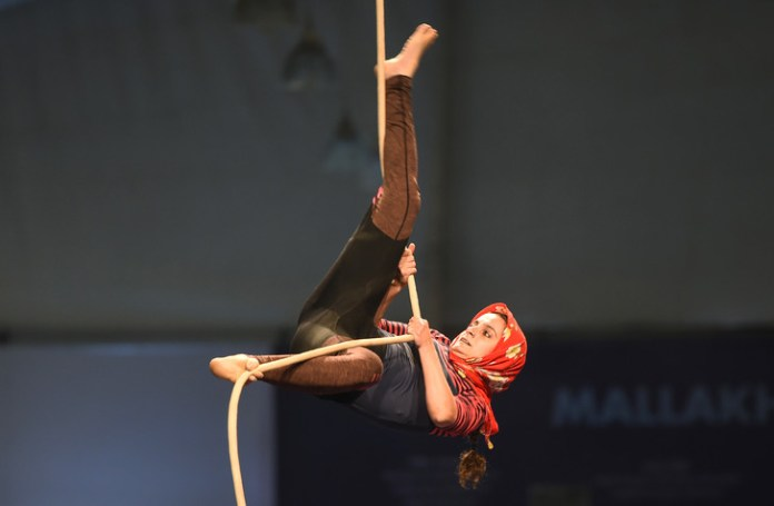 Gymnast Performs Rope Figure at Mallakham World Championships, Former Indian Sports Event, February 16, 2019 in Mumbai, India / AFP