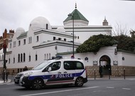 A police car in front of the Grand Mosque of Paris on Friday, March 15th.