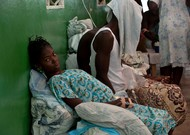 A pregnant woman suffering from cholera waiting for care in Petite-Rivière ...