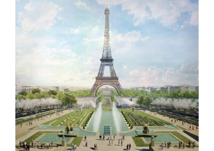 A lawn amphitheater will be installed at the top of the Trocadero / Gustafson Porter + Bowman