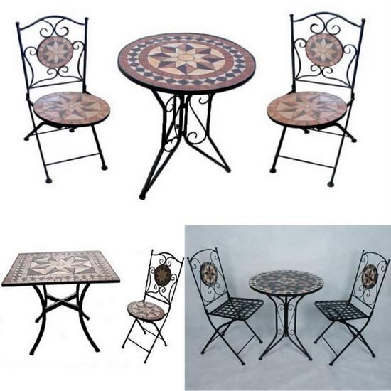 I nostri tavoli da esterno possono essere combinati con sedie da giardino per. Arredo Per Esterno Jody Tavolo Con Mosaico Sedie In Ferro Battuto Pieghevoli Per Giardino