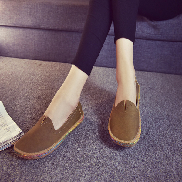 Pure Color Round Toe V-necked Soft Comfy Flat Shoes For Women