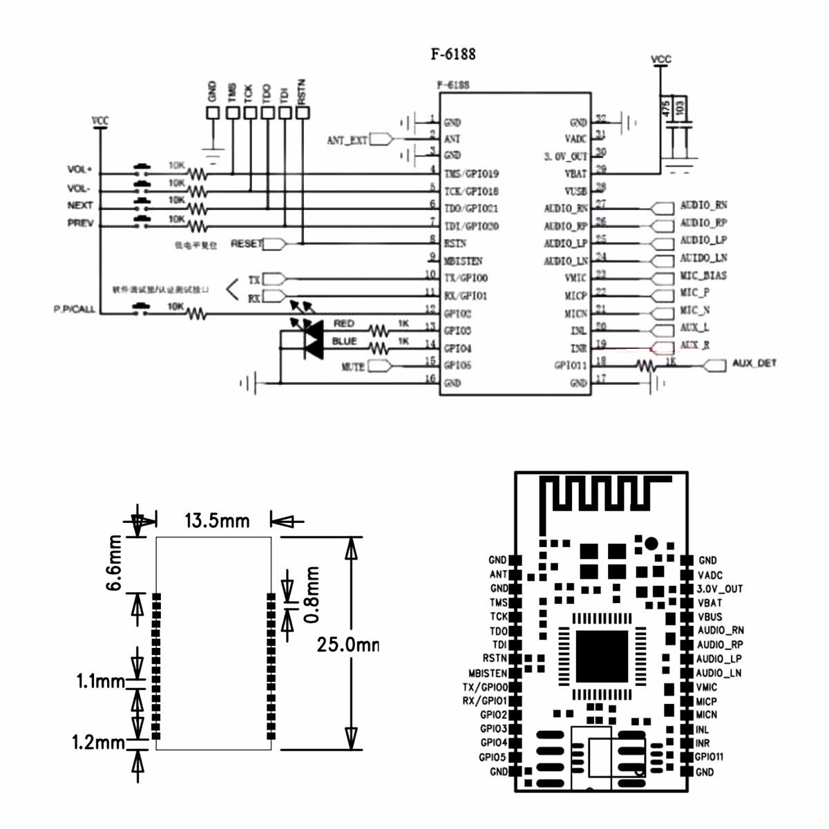5pcs Bk L Wireless Bluetooth Stereo Audio Module