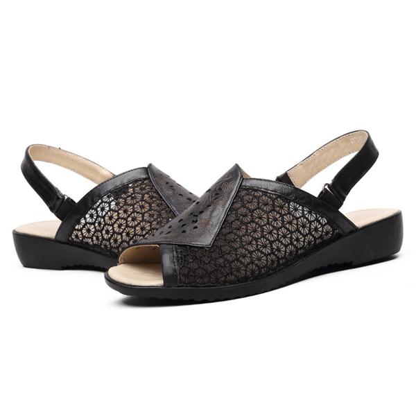 Flower Floral Leather Hollow Out Leather Flat Sandals Buckle Peep Toe Sandals