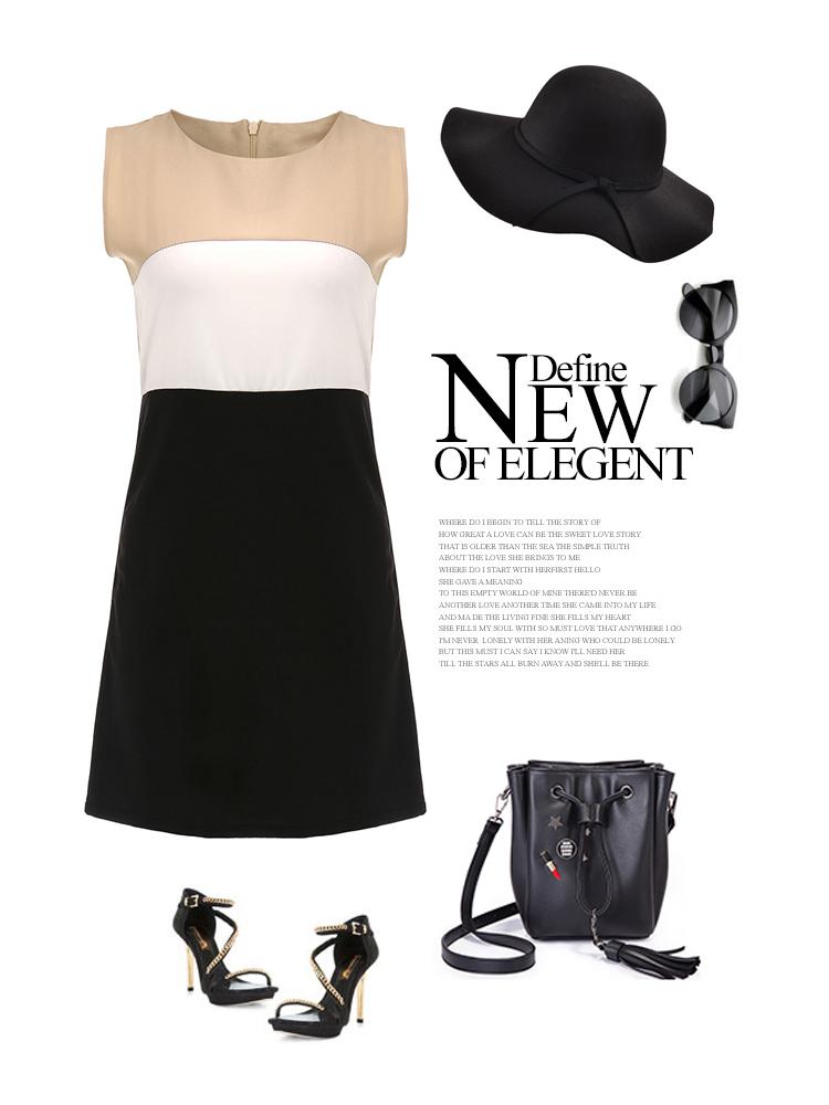 Elegant Women Sleeveless Contrast Color Party Mini Dress
