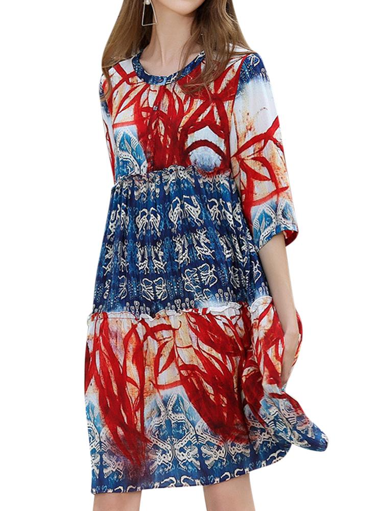 Floral Print Round Neck 3/4 Sleeve Mini Dresses