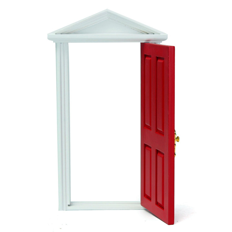 112 Dollhouse Miniature Wood Fairy Door Red Assembled