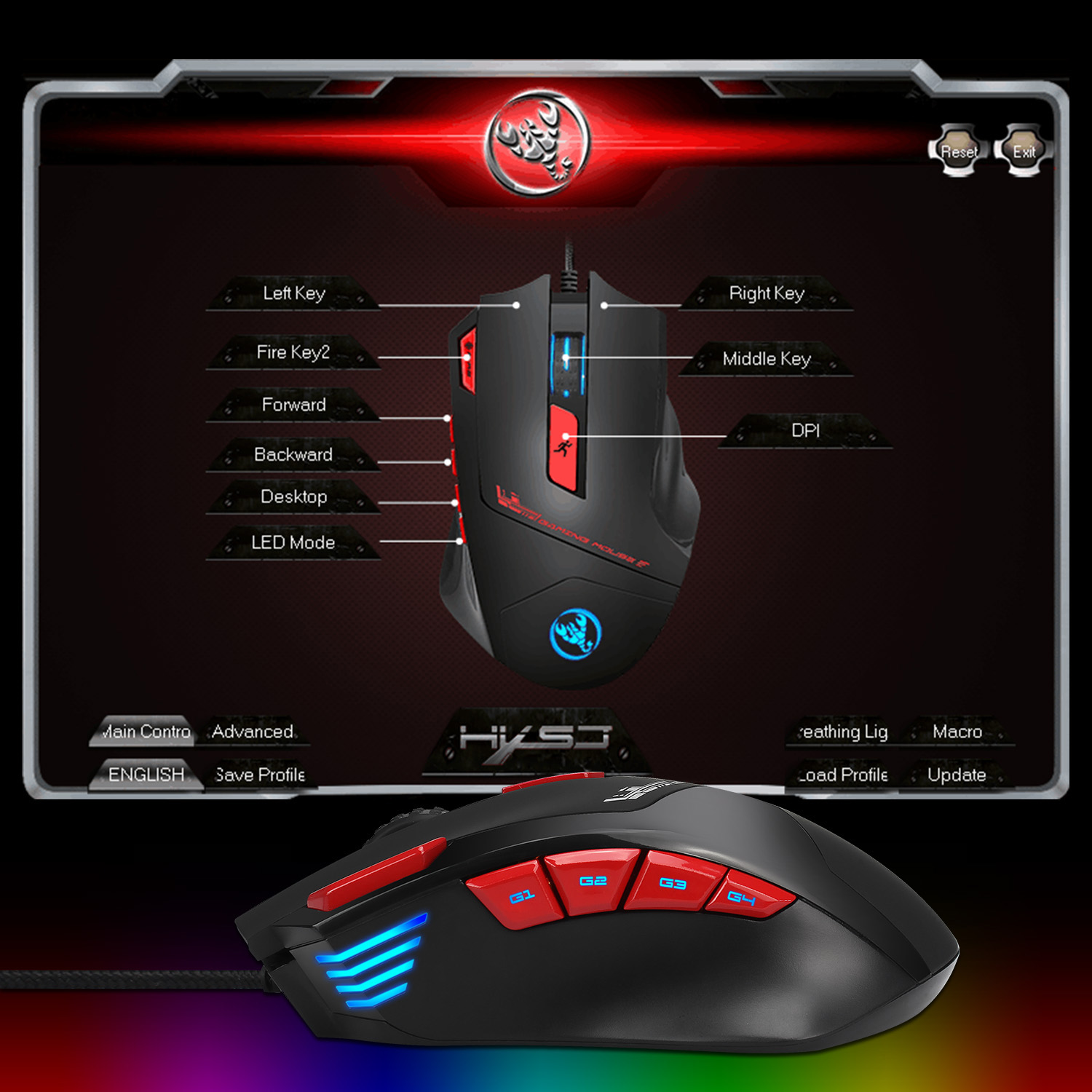 HXSJ S800 9 Buttons 6000DPI Backlit Gaming Mouse USB Wired Optical  Programmable Mouse Mice