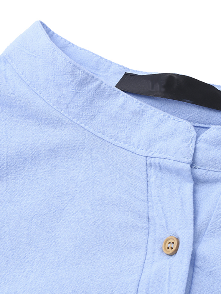 Sexy Women Button V-Neck Solid Color Split Long Shirt Dress