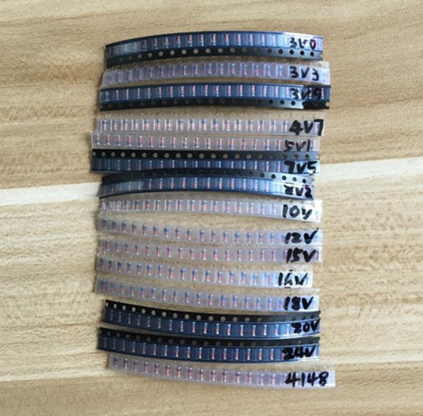 900pcs LL34 SMD Zener Diode Pack Patch Diode Set 1N4148 Kit 1/2W 3-24V 15 Values 60pcs Each Value 12