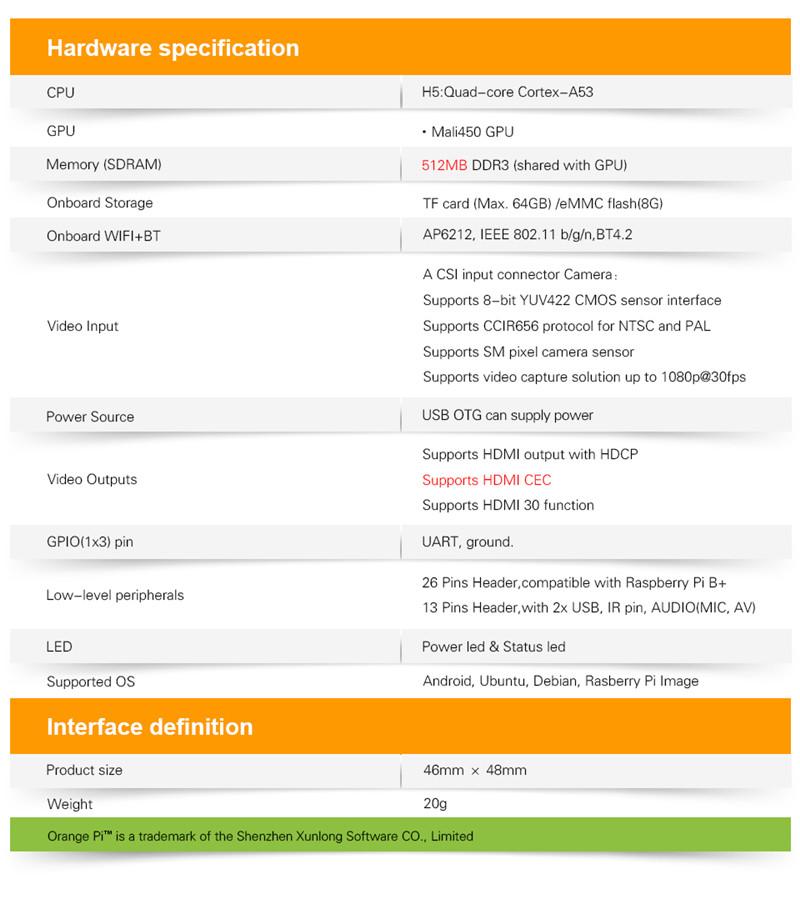 Upgrade Version Orange Pi Zero Plus 2 H5 Quad-core Bluetooth
