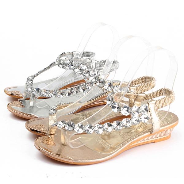 Women Summer Wedge Sandals Fashion Low Heel Casual Rhinestone Slip On Sandals Shoes