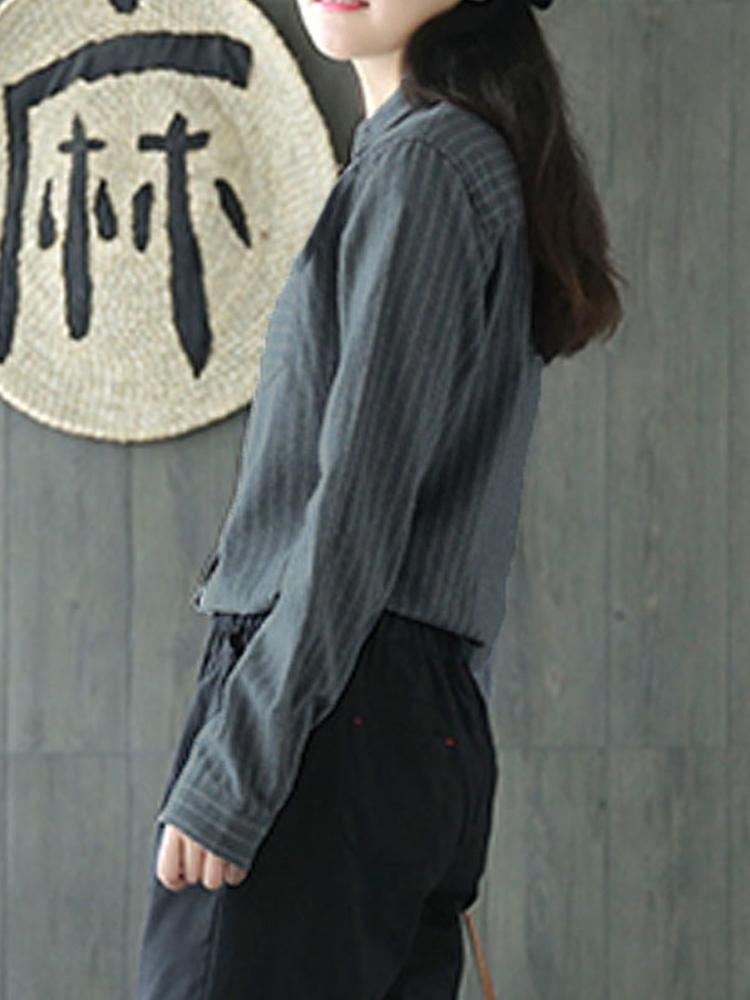 Women Striped Lapel Button Down Long Sleeve Shirt Blouse