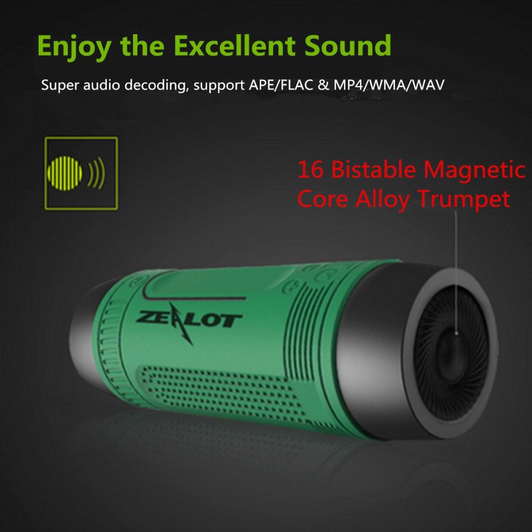 Zealot S1 Wireless Bluetooth Speaker Dustproof Waterproof Flashlight FM Power Bank Multi F 16