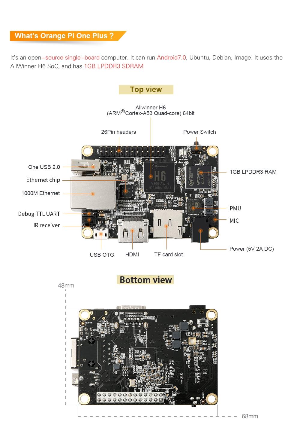 Orange Pi One Plus H6 1GB Quad-core 64bit Development Board Support Android7.0 Mini PC 5