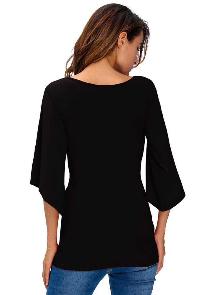 Women Sexy V-neck Flare Sleeve Pure Color Slim Blouses