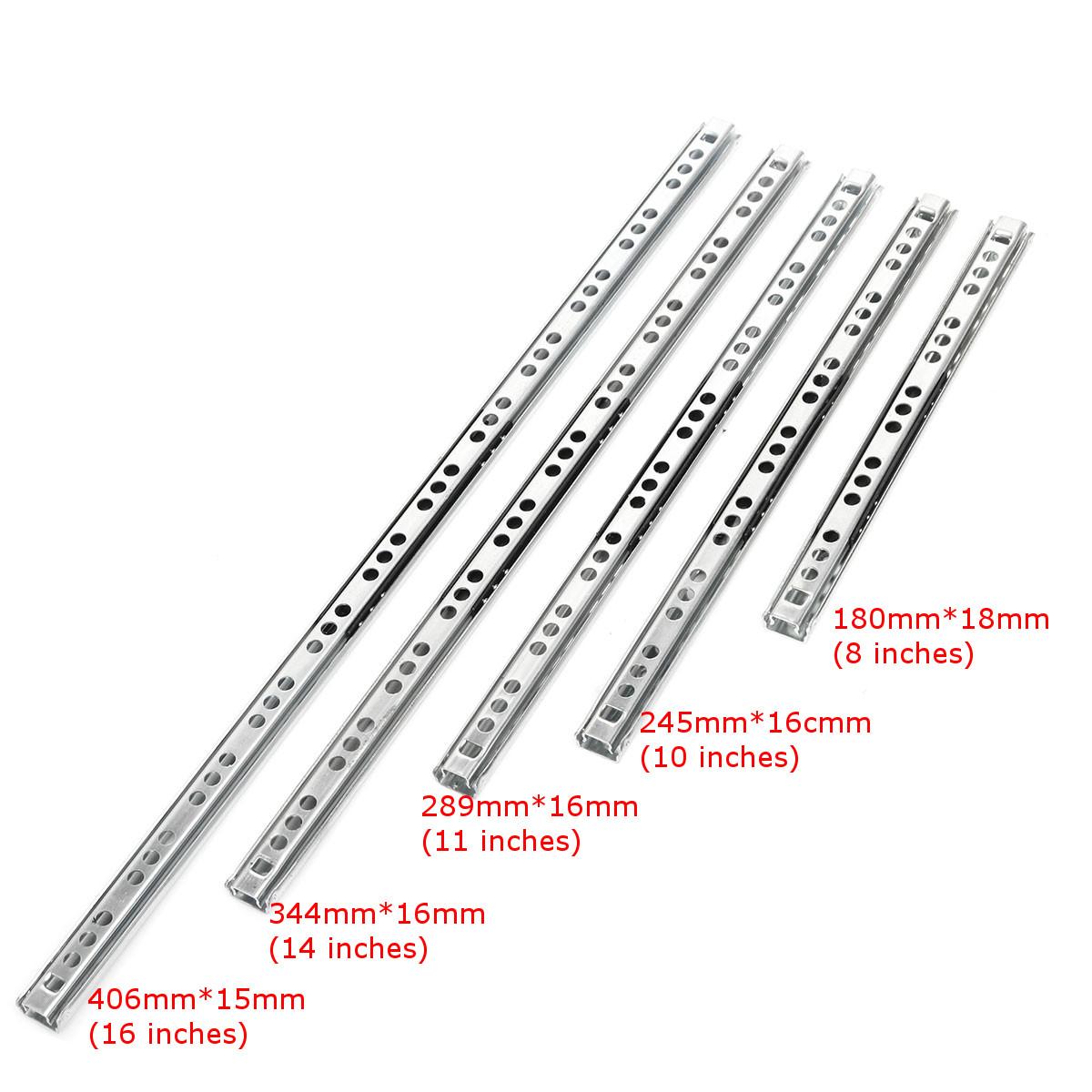 2pcs Metal Drawer Ball Bearing Slide Mute Guide Track 8