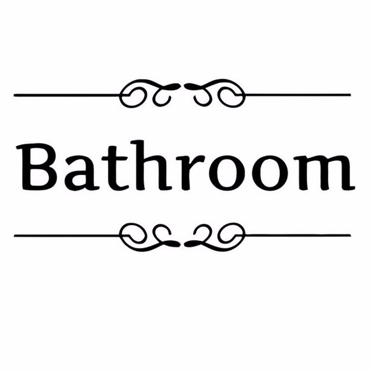 Removable PVC Bathroom Toilet Wall Sticker Door Decals DIY Decor
