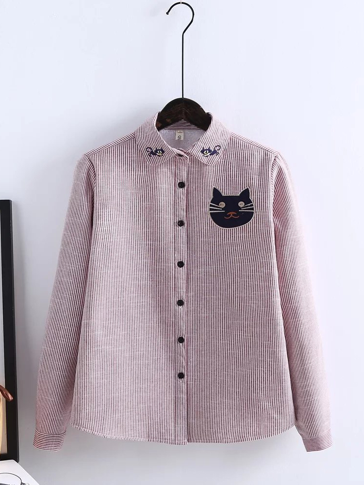 Cat Embroidery Stripe Long Sleeve Lapel Casual Women Thick Blouse