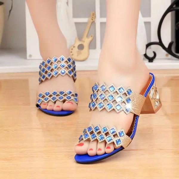 Summer Women Beach Sandals Chic Rhinestone Sandals Platform Sandals