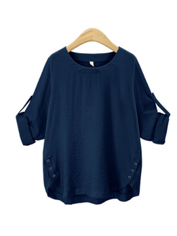 Casual Loose Solid Color Long Sleeve Women Blouses