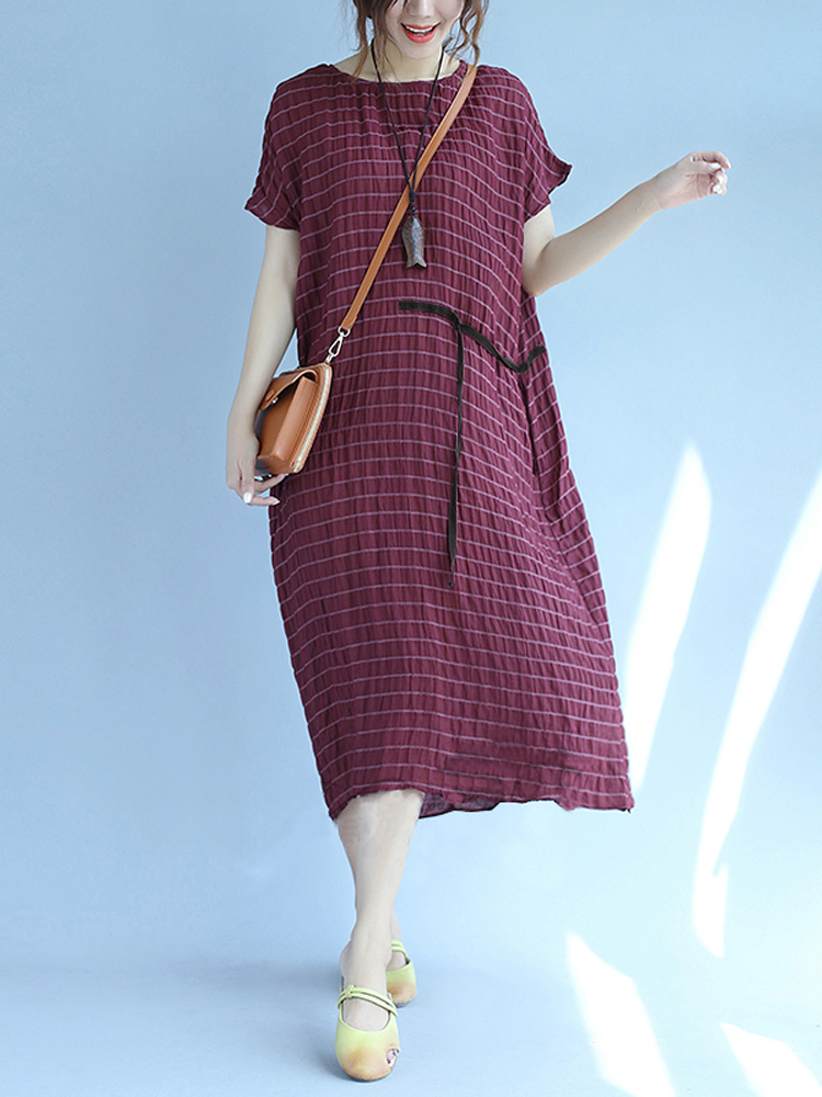 Women Summer Loose Striped Adjustable Waisted Mid-long Dress